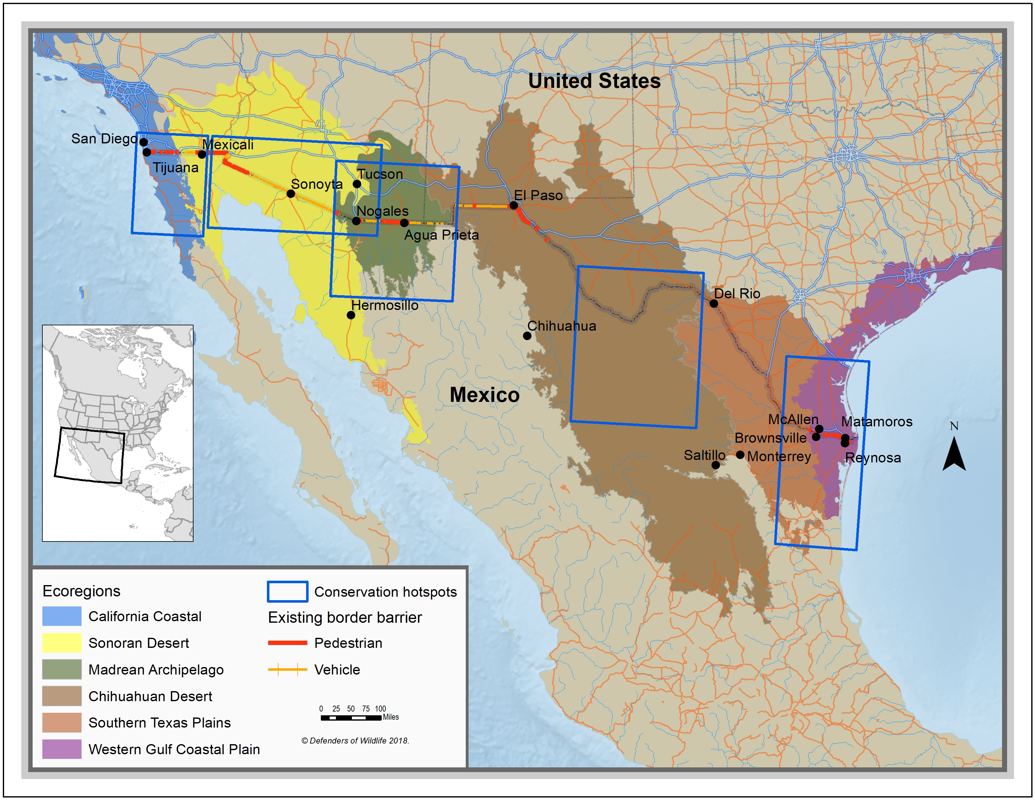 Border wall hotspots map