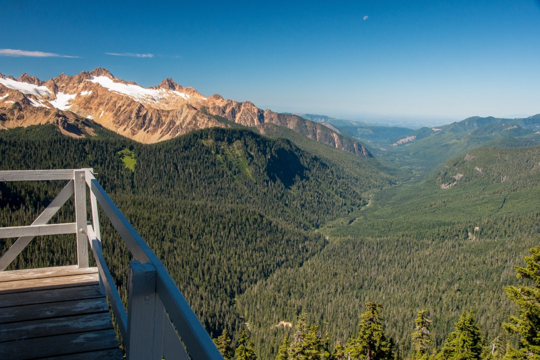 Looking down the Middle Fork of the Nooksack River from Park Butte Lookout, Mt. Baker-Snoqualmie National Forest.