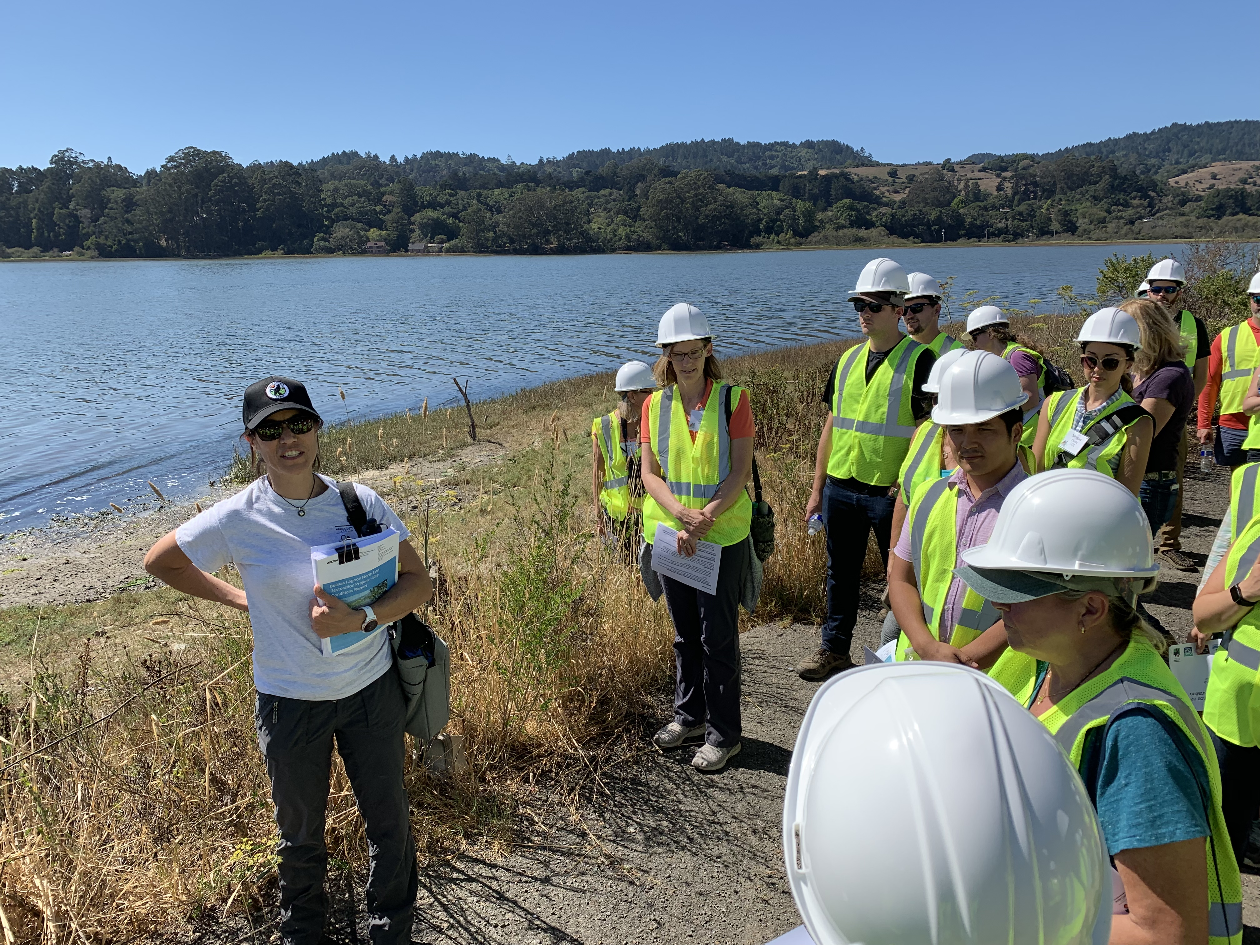 ICOET participants learn about impacts of sea level rise to the Pacific Coast Highway (CA-1) along Bolinas Lagoon during one of several conference field trips
