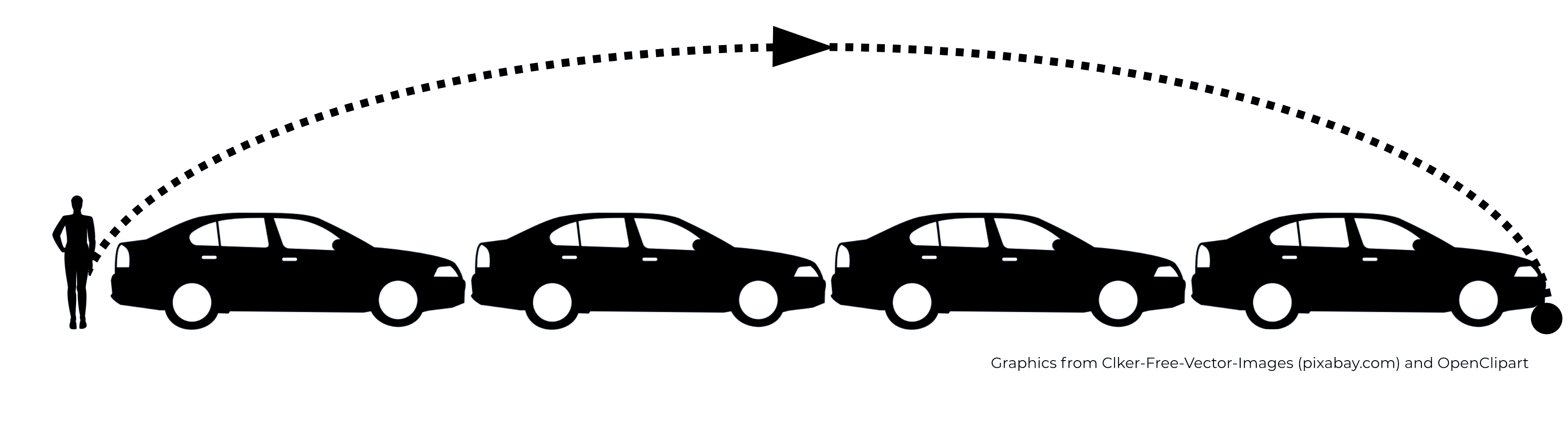 Human leaping four cars graphic