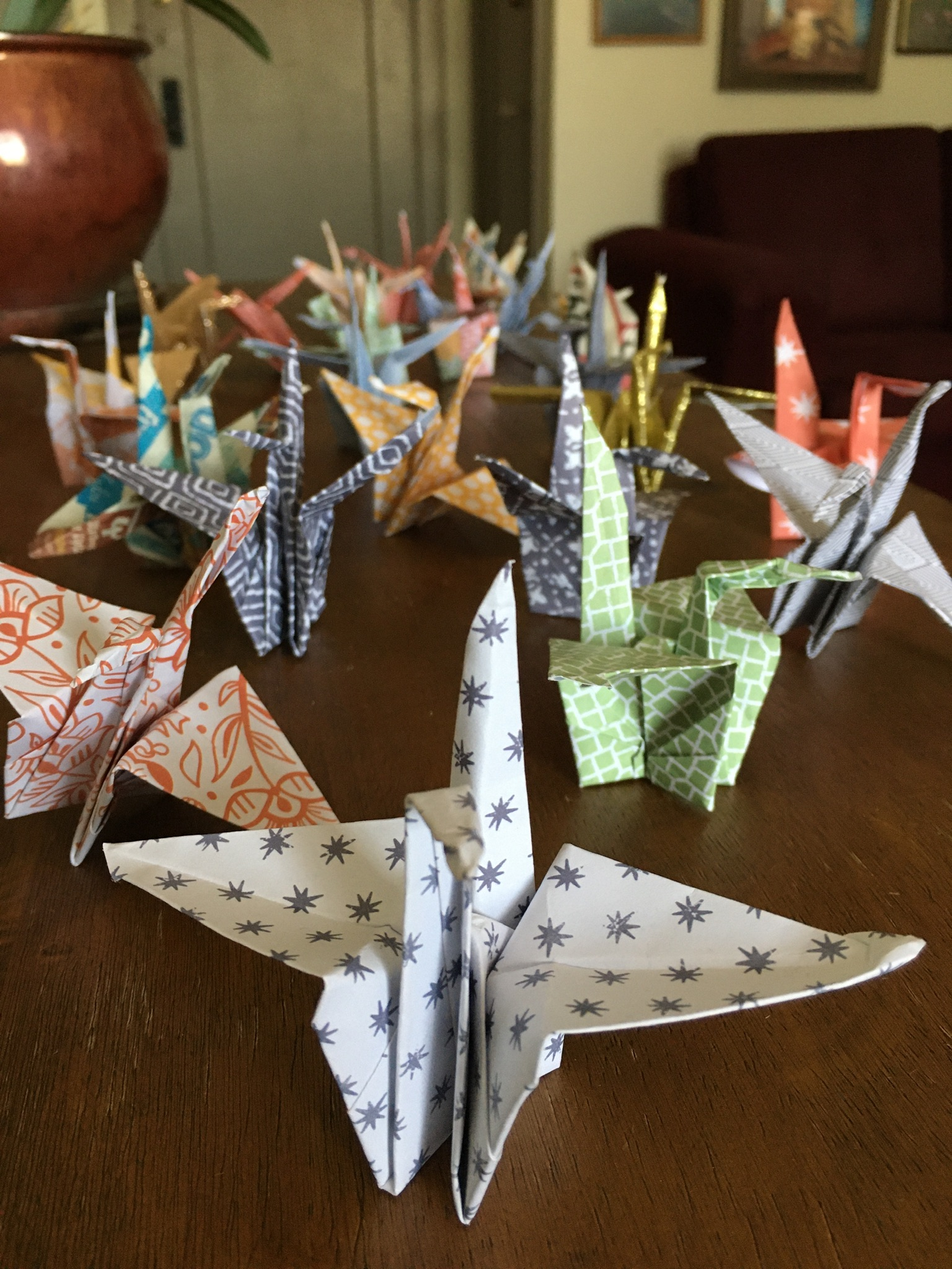 Sample paper cranes on a table