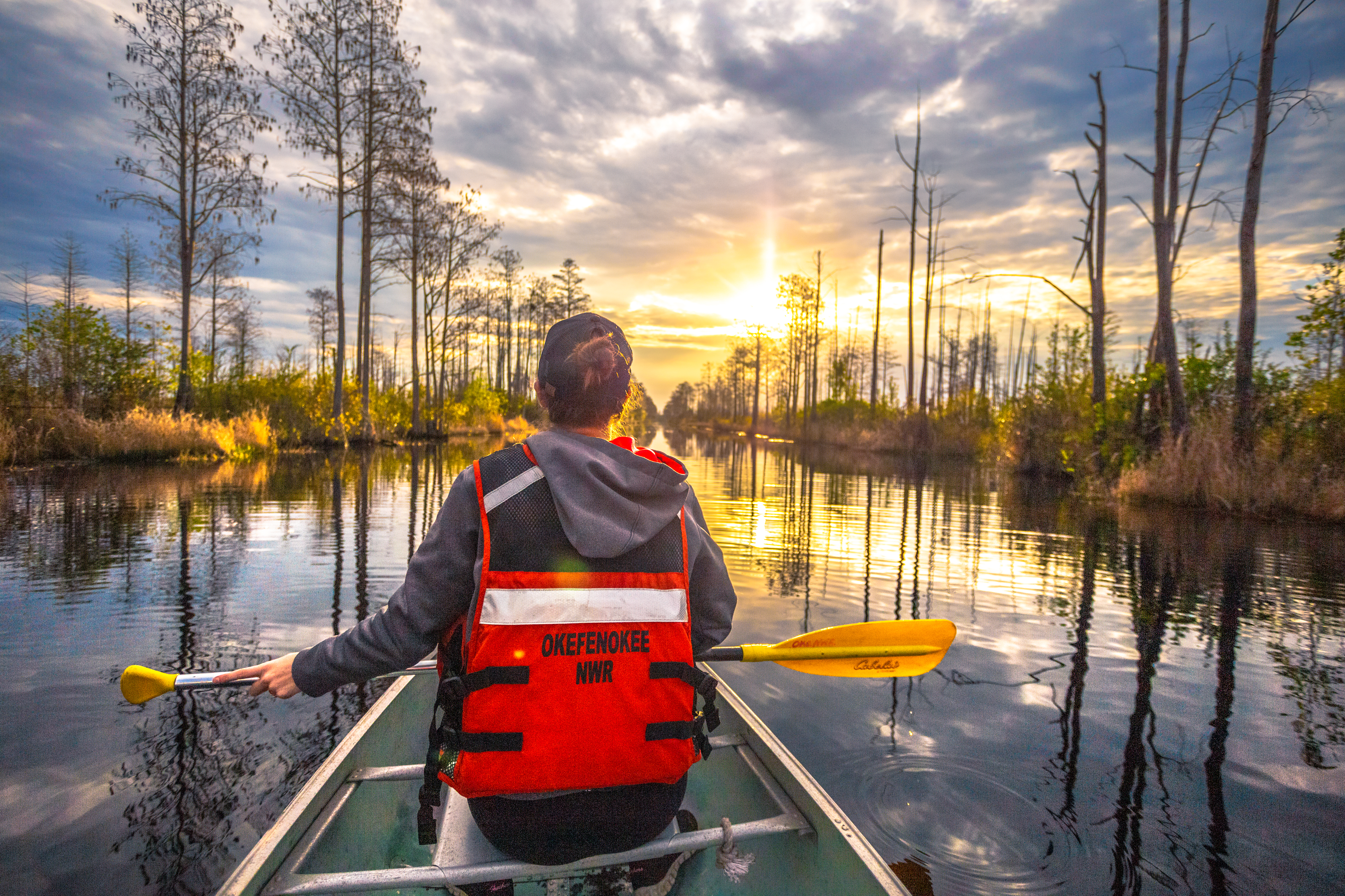 Paddler in a canoe Okefenokee Swamp Okefenokee Wilderness Area NWR