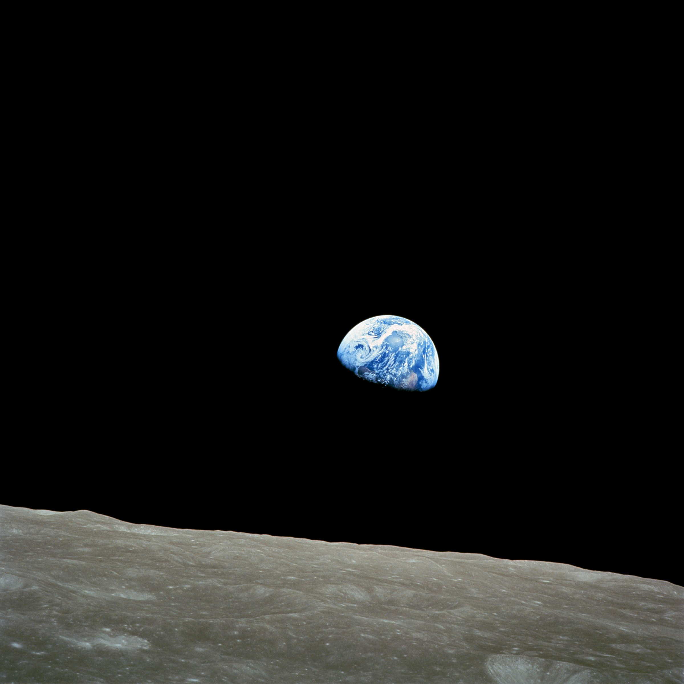 """Earthrise"" taken by the crew of Apollo8"