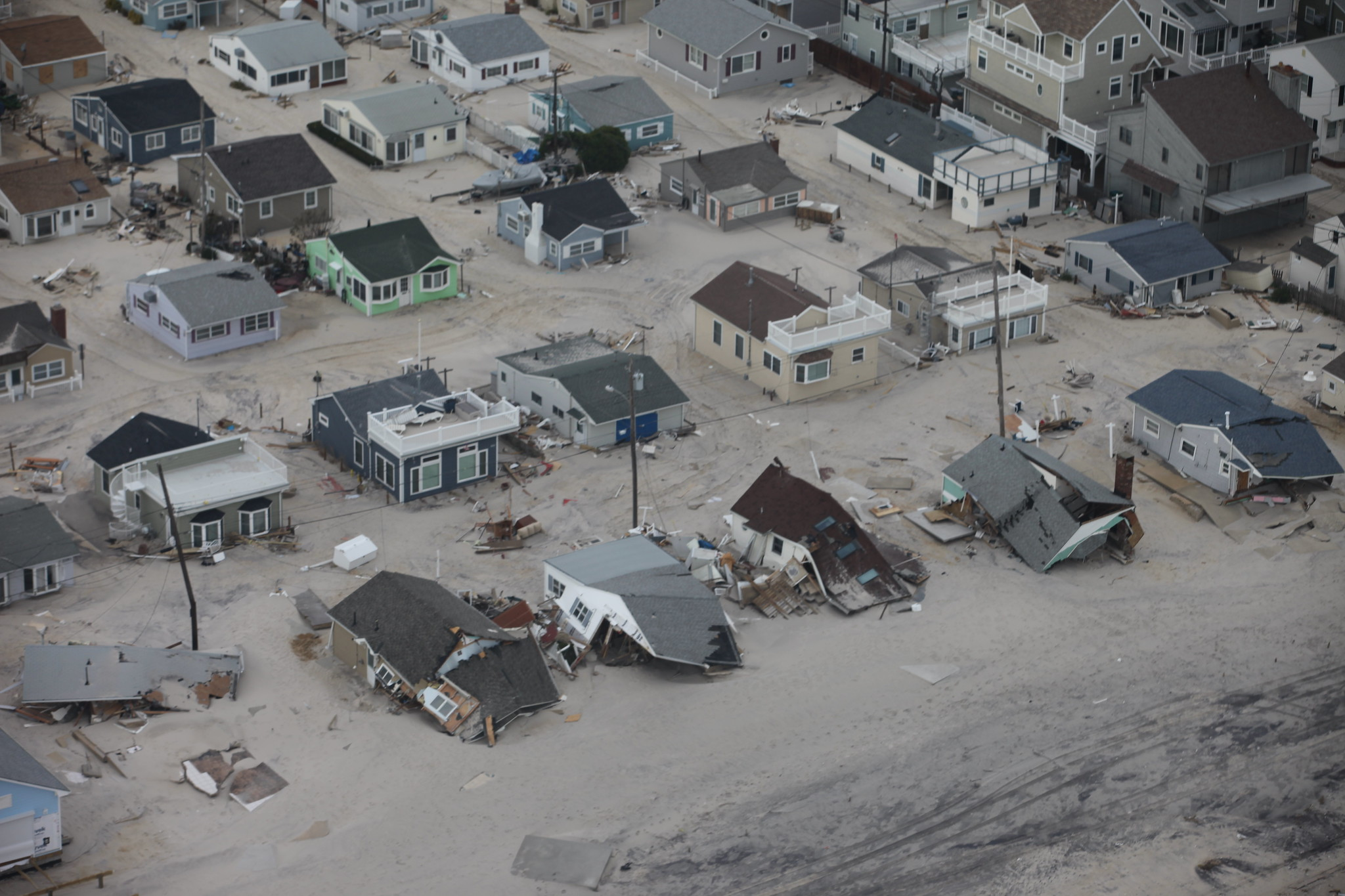 Aerial photo of damaged homes along New Jersey shore after Hurricane Sandy