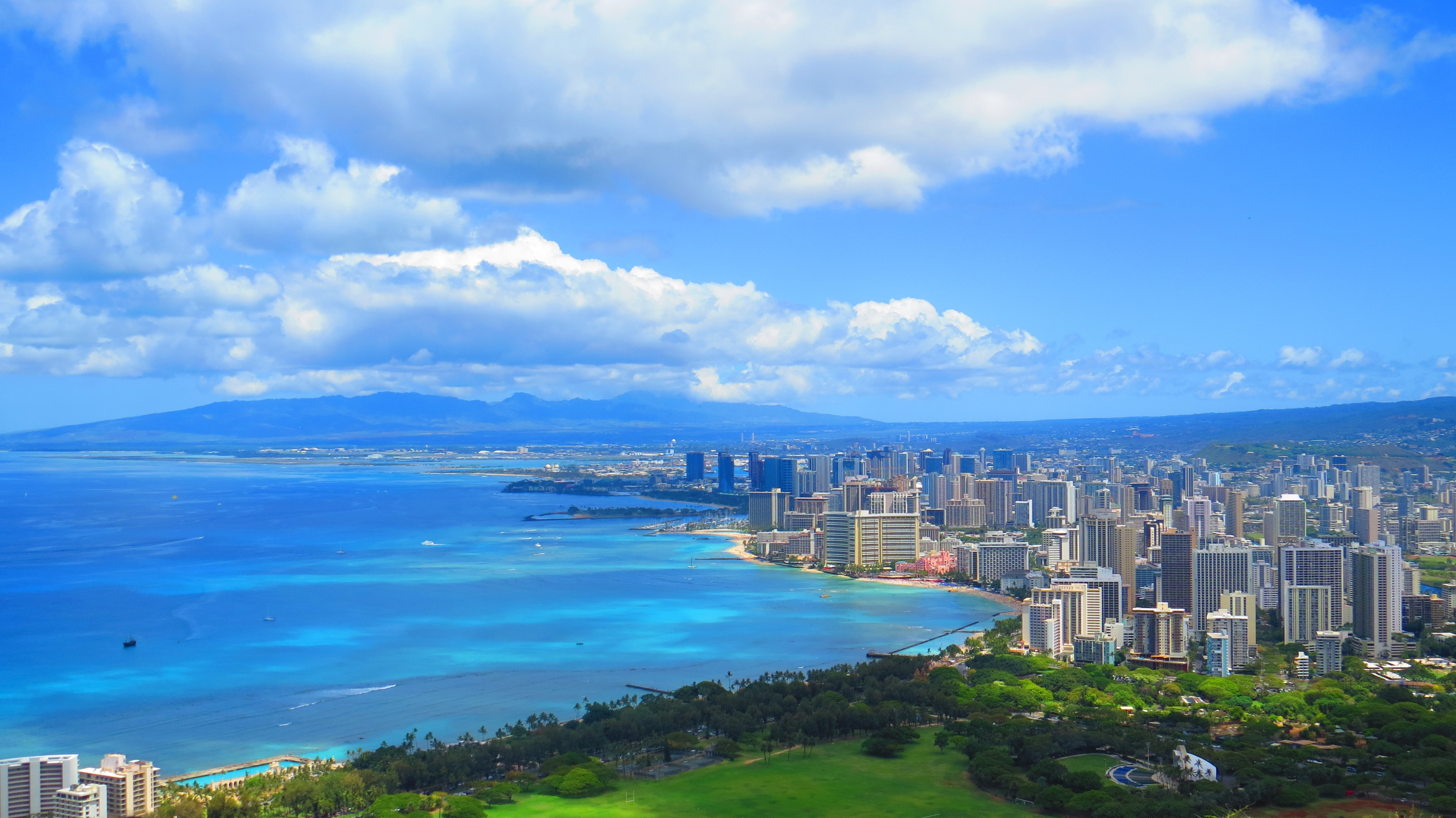 Downtown Honolulu and Waikiki from Diamond Head