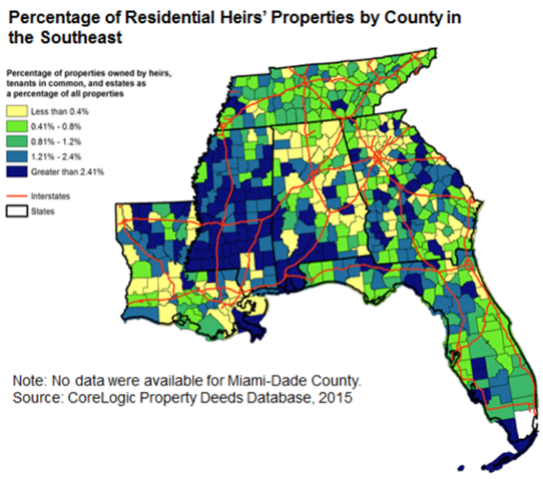 Percentage of residential heirs' properties by county in the southeast