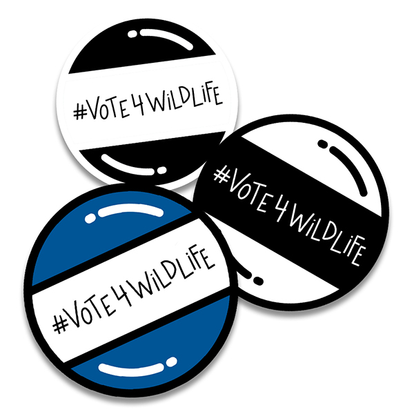 Vote for wildlife buttons
