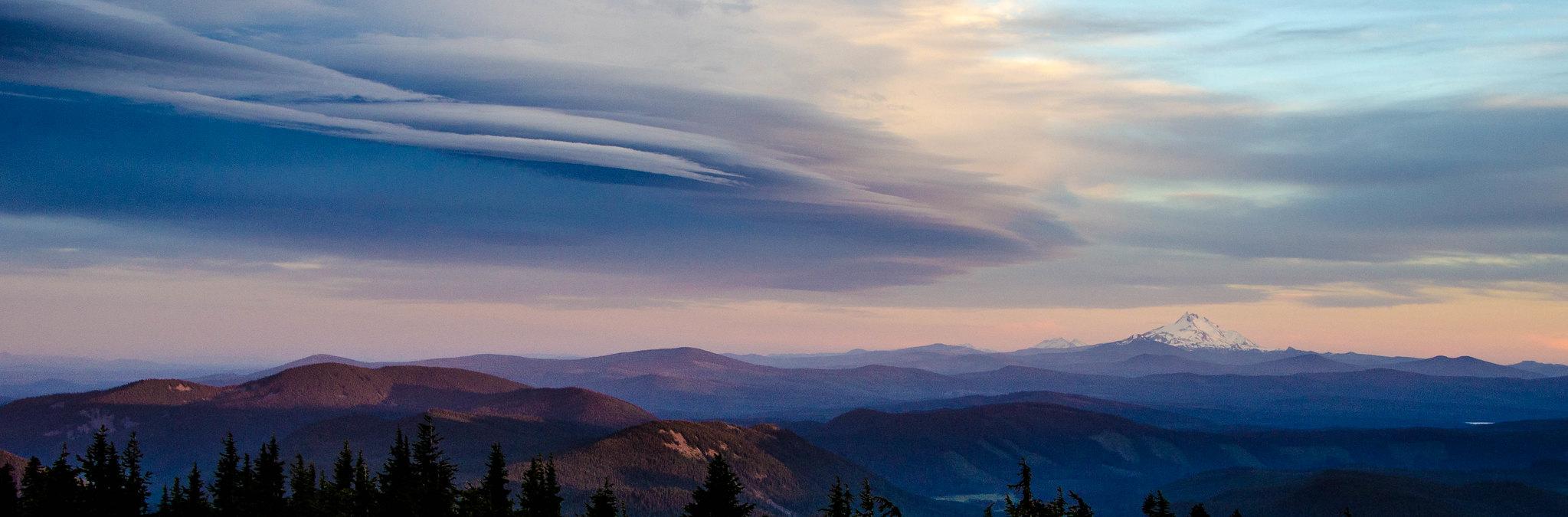 Sunset at Timberline Lodge Panoramic