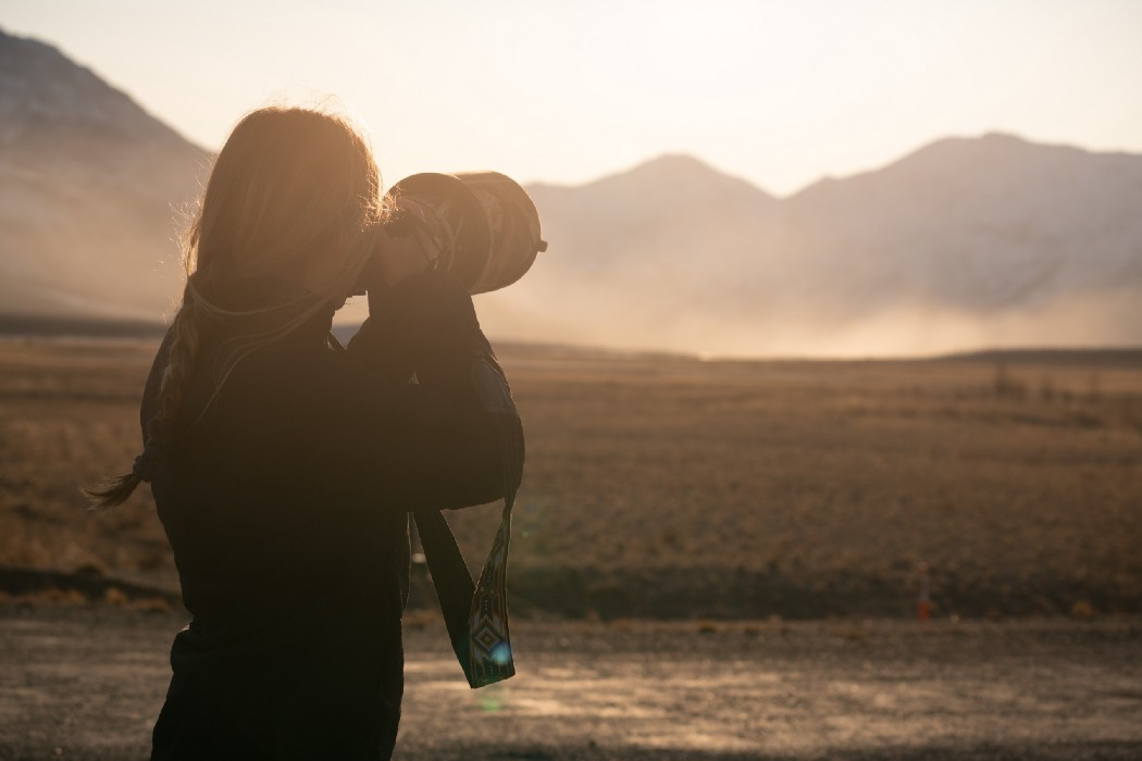 Claire Oswald photographing in Yukon Territory