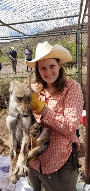 Shana Olson with mexican gray wolf pup