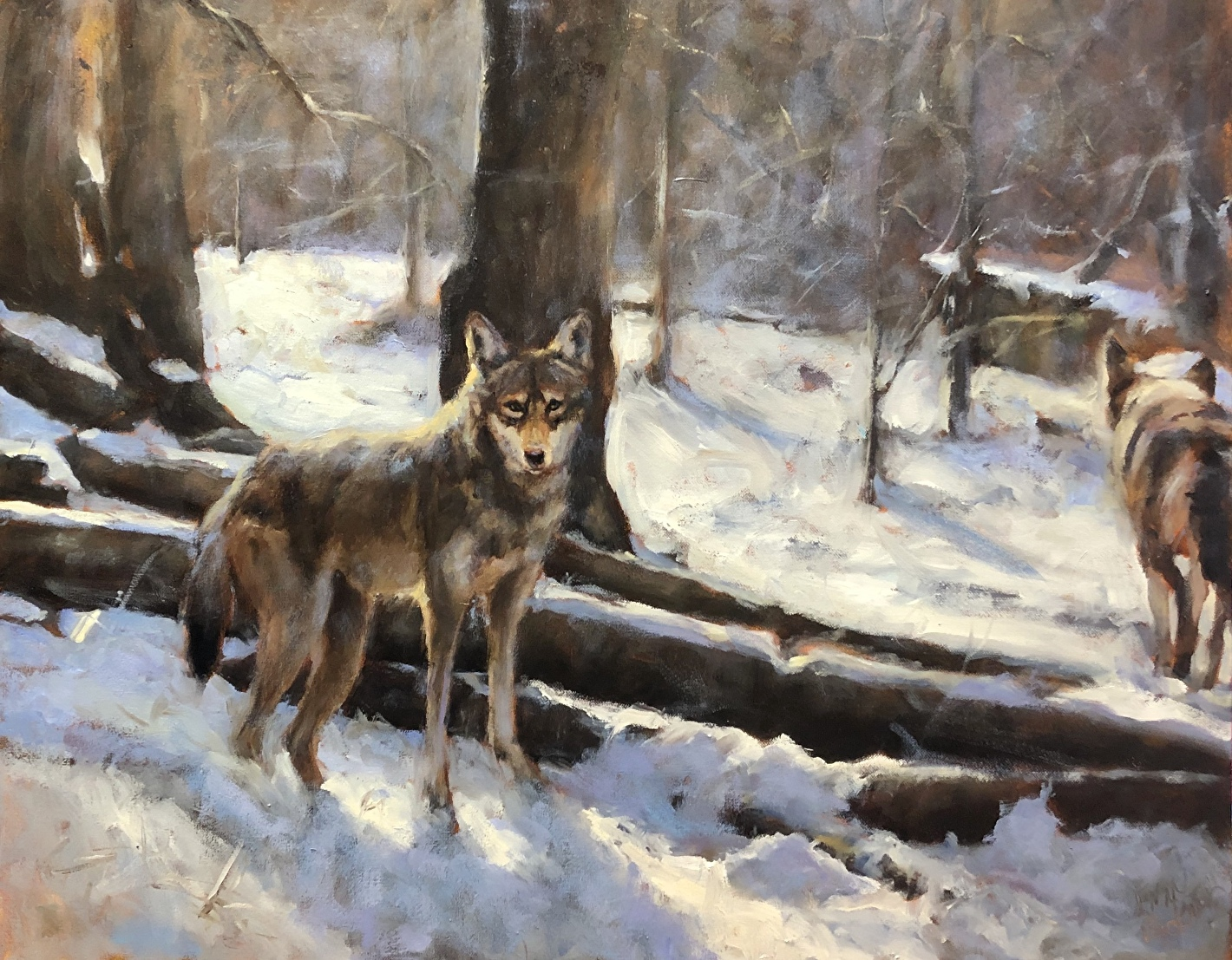 red wolf painting winter