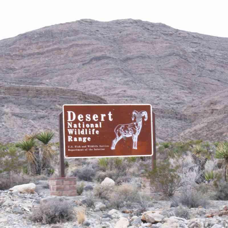 Desert National Wildlife Refuge sign eastern boundary