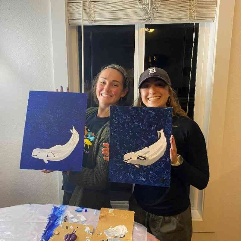 Katy's and Isabelle's beluga paintings